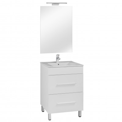 60 FP fiókos szekrény+ mosdó+ tükör + LED-es lámpa