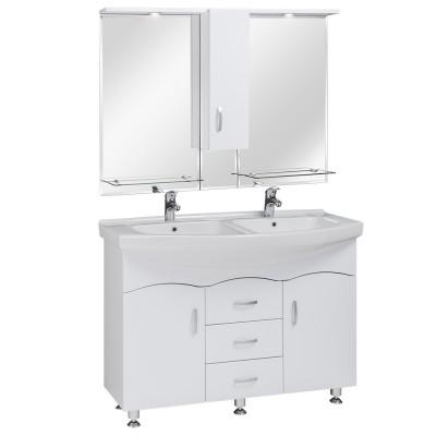 120 Dupla mosdó+szekrény Magasfényű fehér fronttal