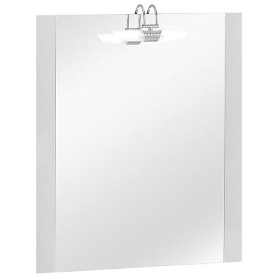 75T Szögletes magasfényű fehér oldalbetéttel tükör