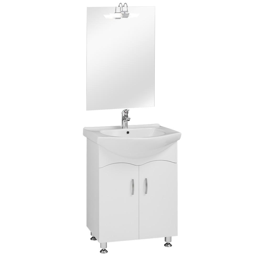 65S szekrény+mosdóval Magasfényű fehér fronttal