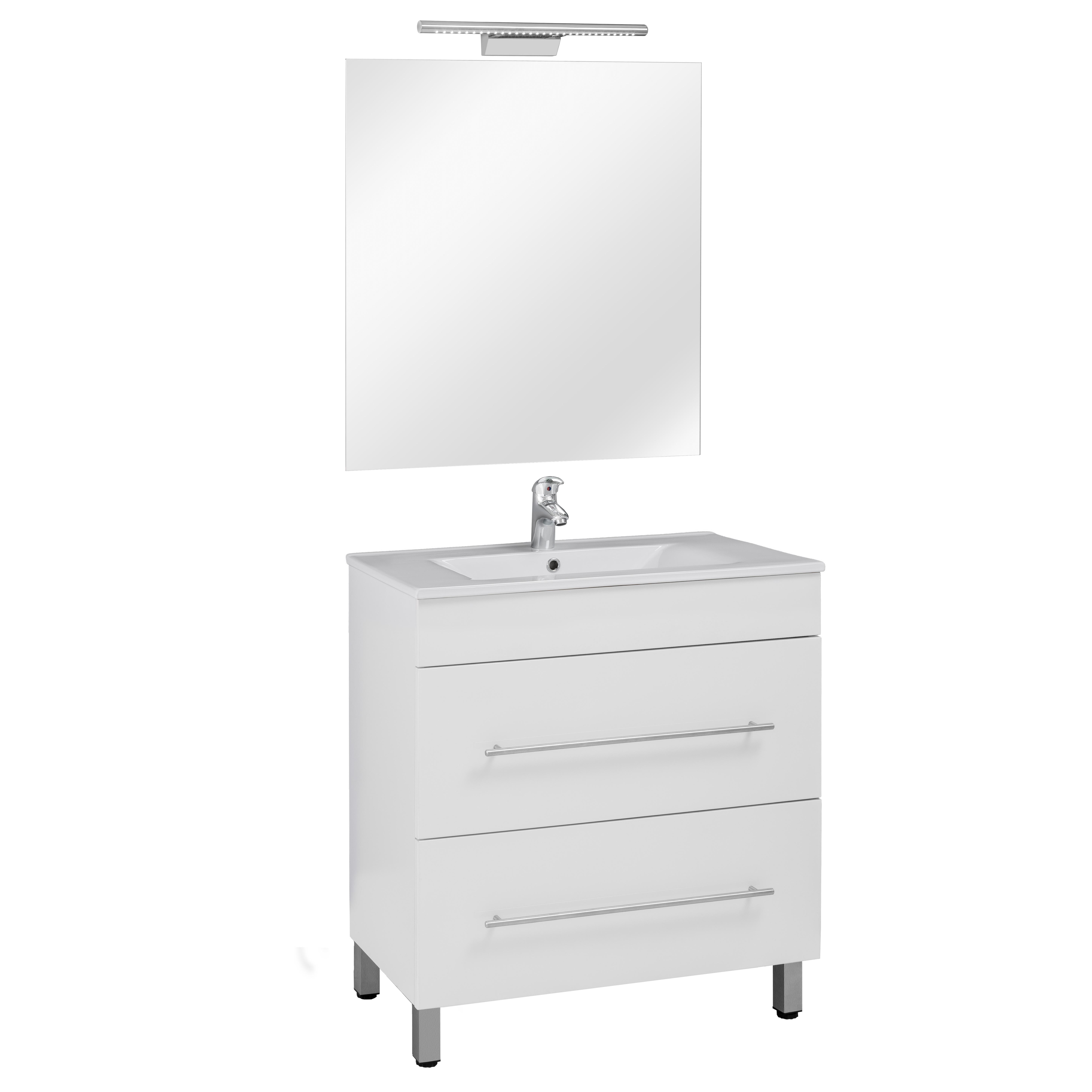 80 FP fiókos szekrény+ mosdó+ tükör + LED-es lámpa